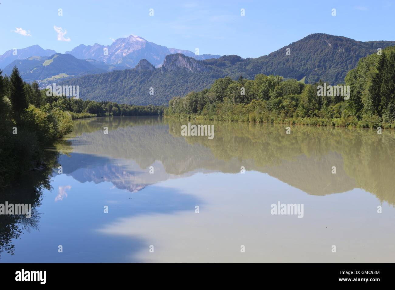 Beautiful landscape with the Salzach river and the mountain Hoher Goell. Puch, near the city Salzburg, Salzburger Stock Photo