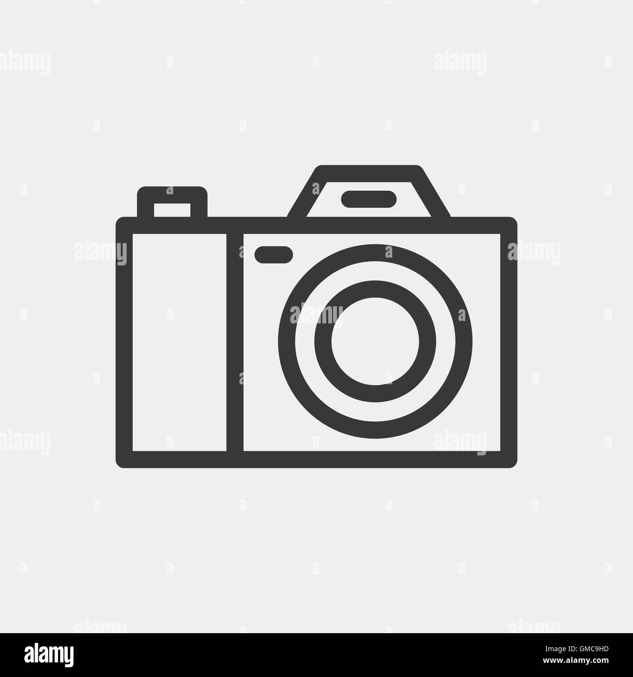 simple camera icon of brown outline for illustration