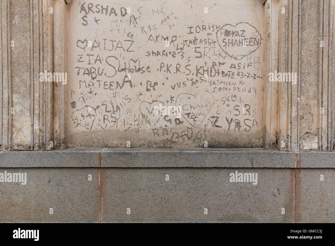 Writings on the wall of Qutub Shahi Tombs - Stock Image