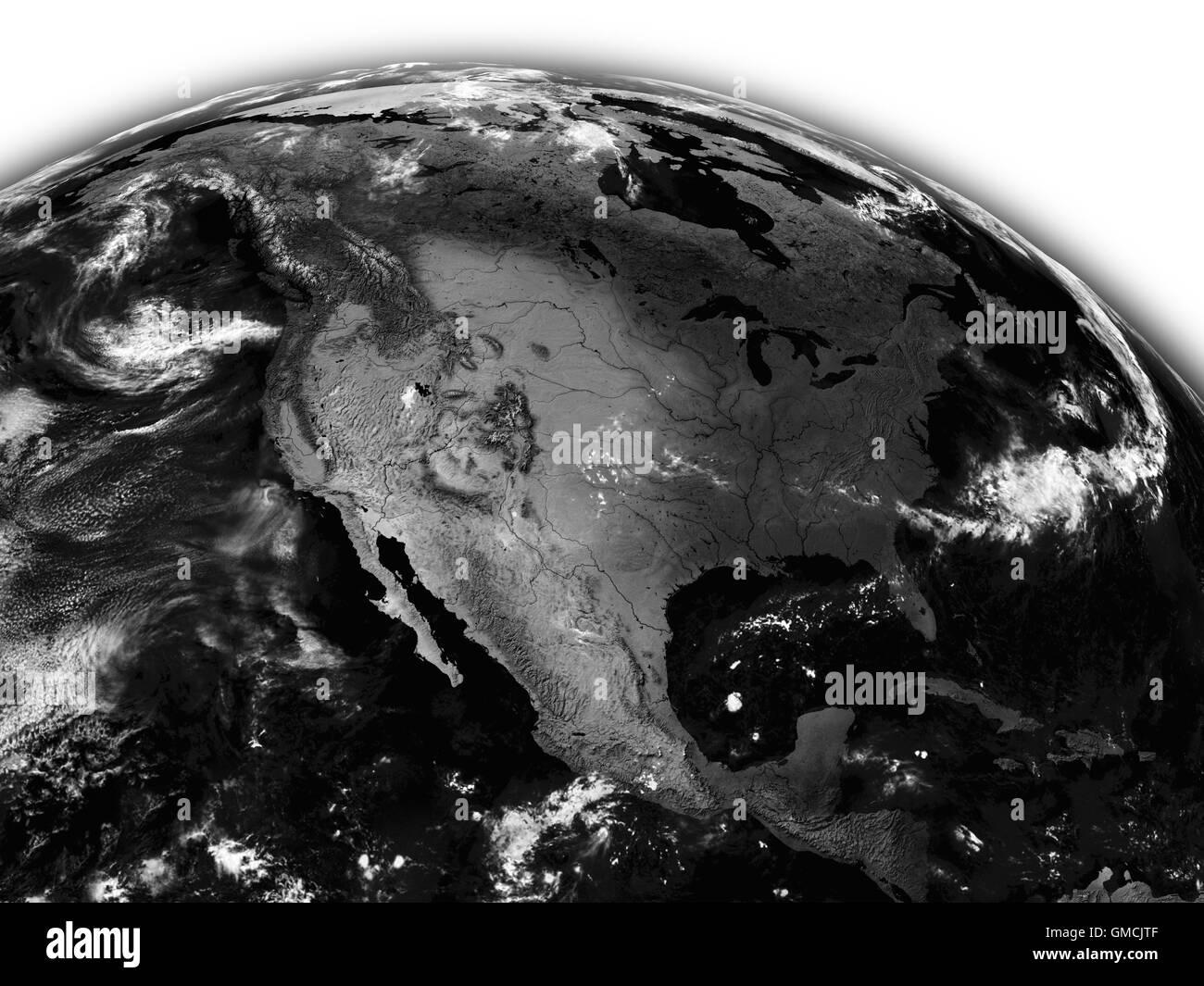 North America on black Earth - Stock Image