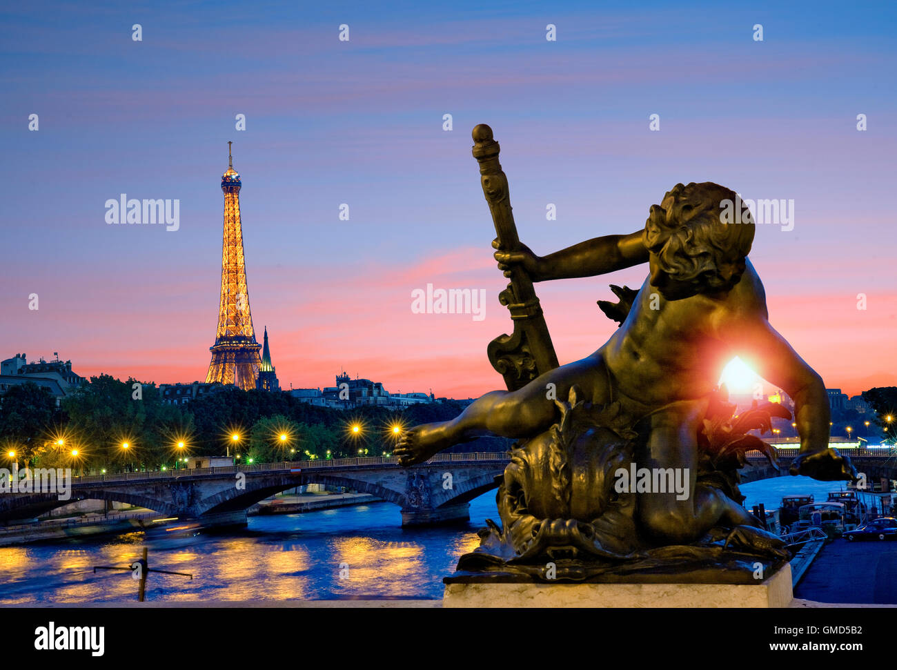 Alexandre III bridge in Paris, France - Stock Image