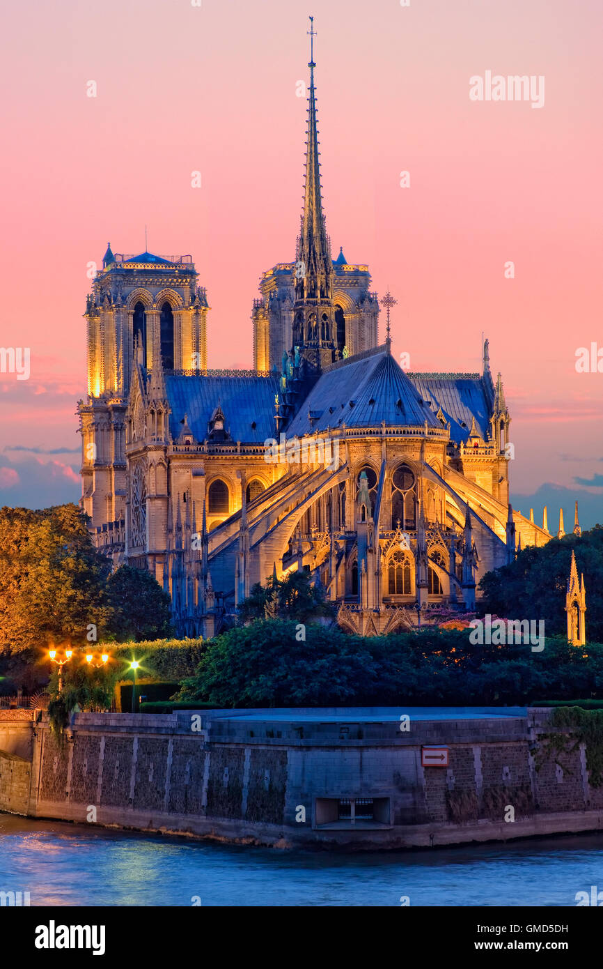 Notre Dame cathedral in Paris, France - Stock Image