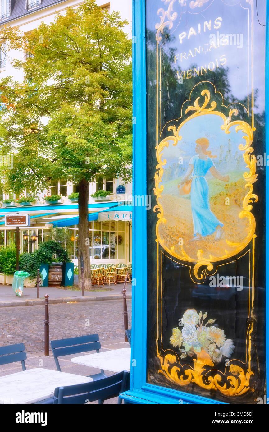 Cafe in Ile Saint Louis in Paris, France - Stock Image