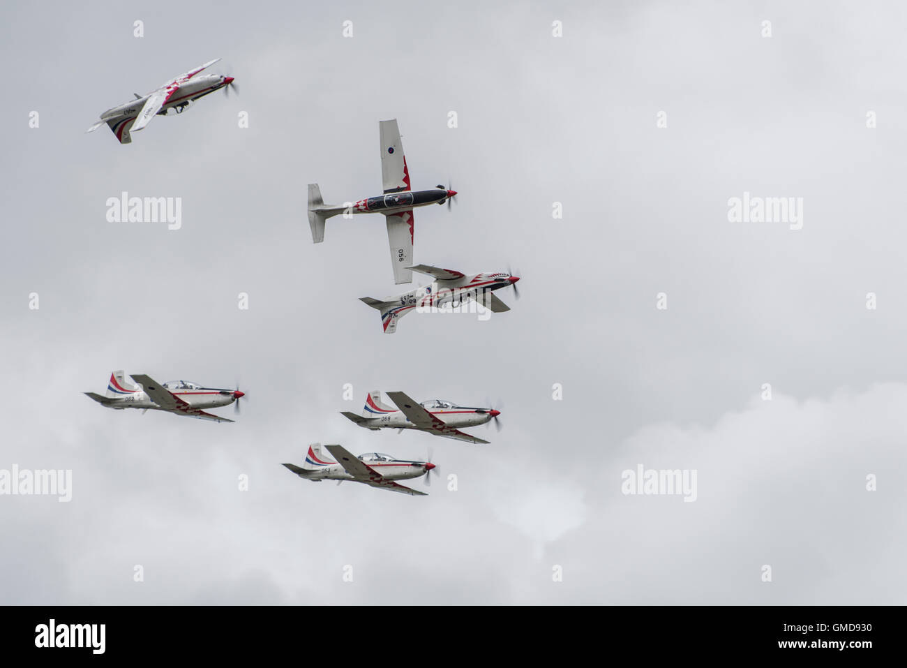 The Croatian Air Force Military Aerobatic Display Team Krila Oluje fly their Pilatus PC-9M turboprop trainers at the 2016 RIAT Stock Photo