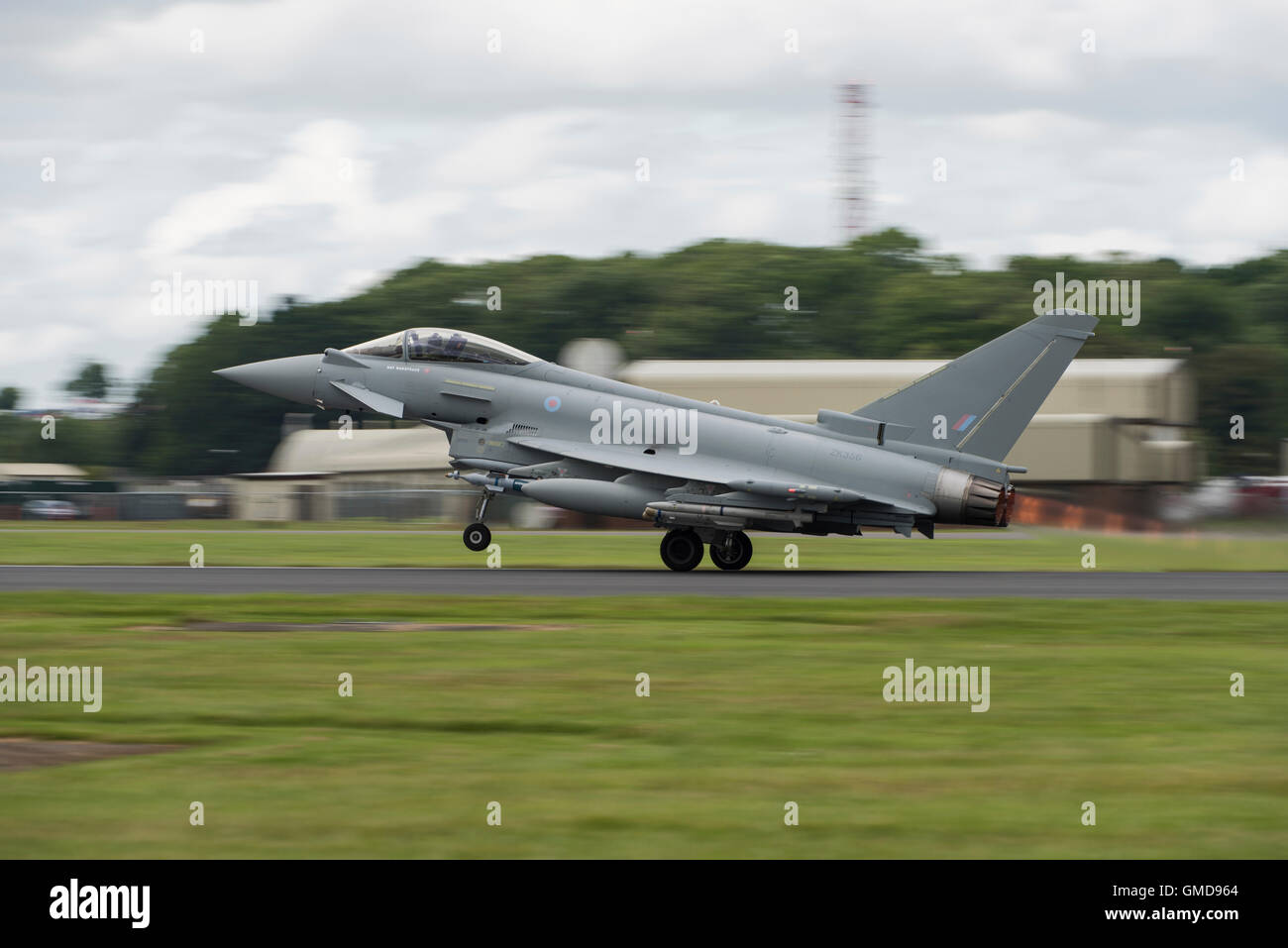 BAE Systems Eurofighter Typhoon FGR4 takes off to to display at the 2016 Royal International Air Tattoo. - Stock Image
