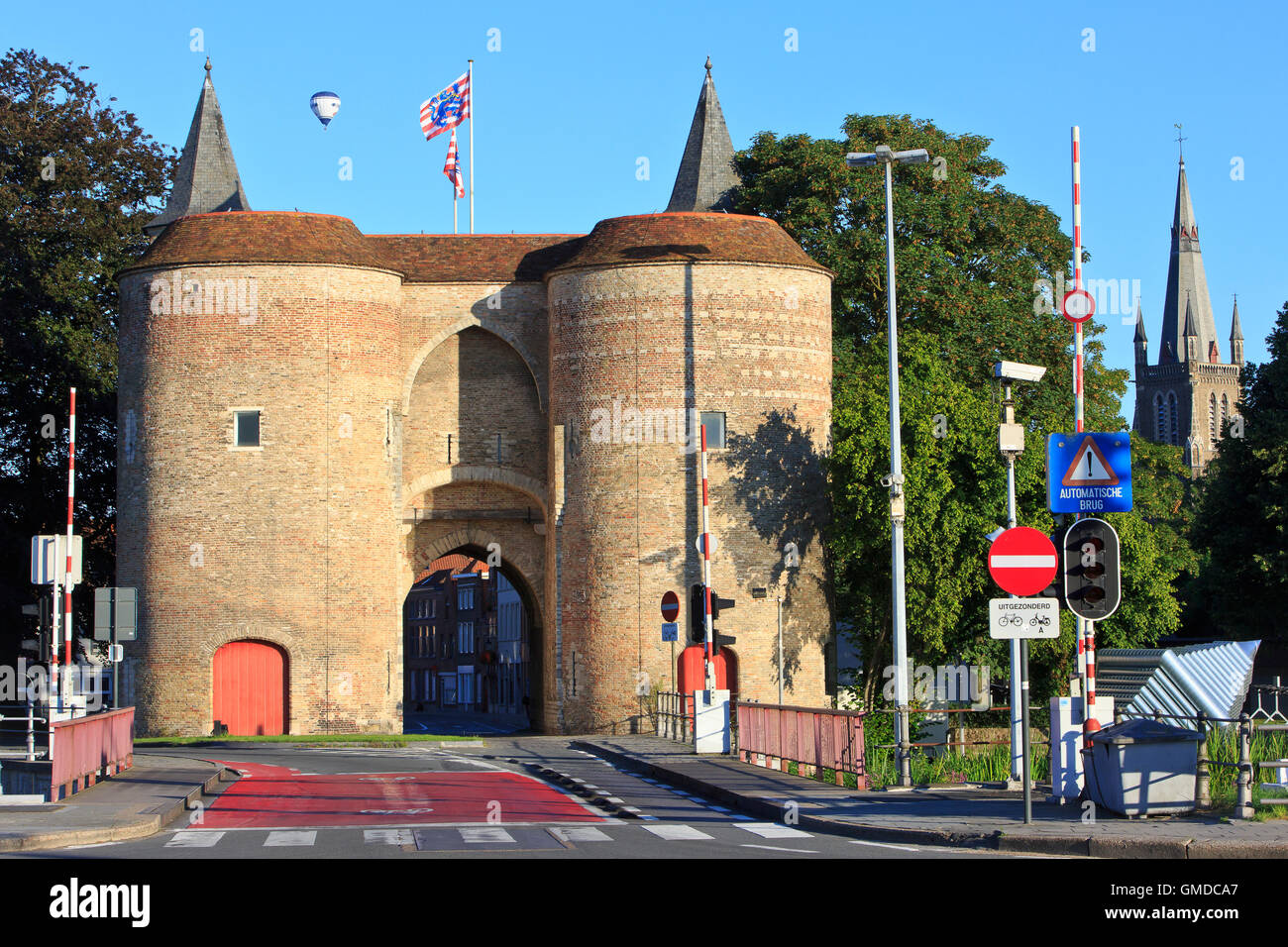 The Gate of Ghent - Gentpoort (1400) in Bruges, Belgium Stock Photo