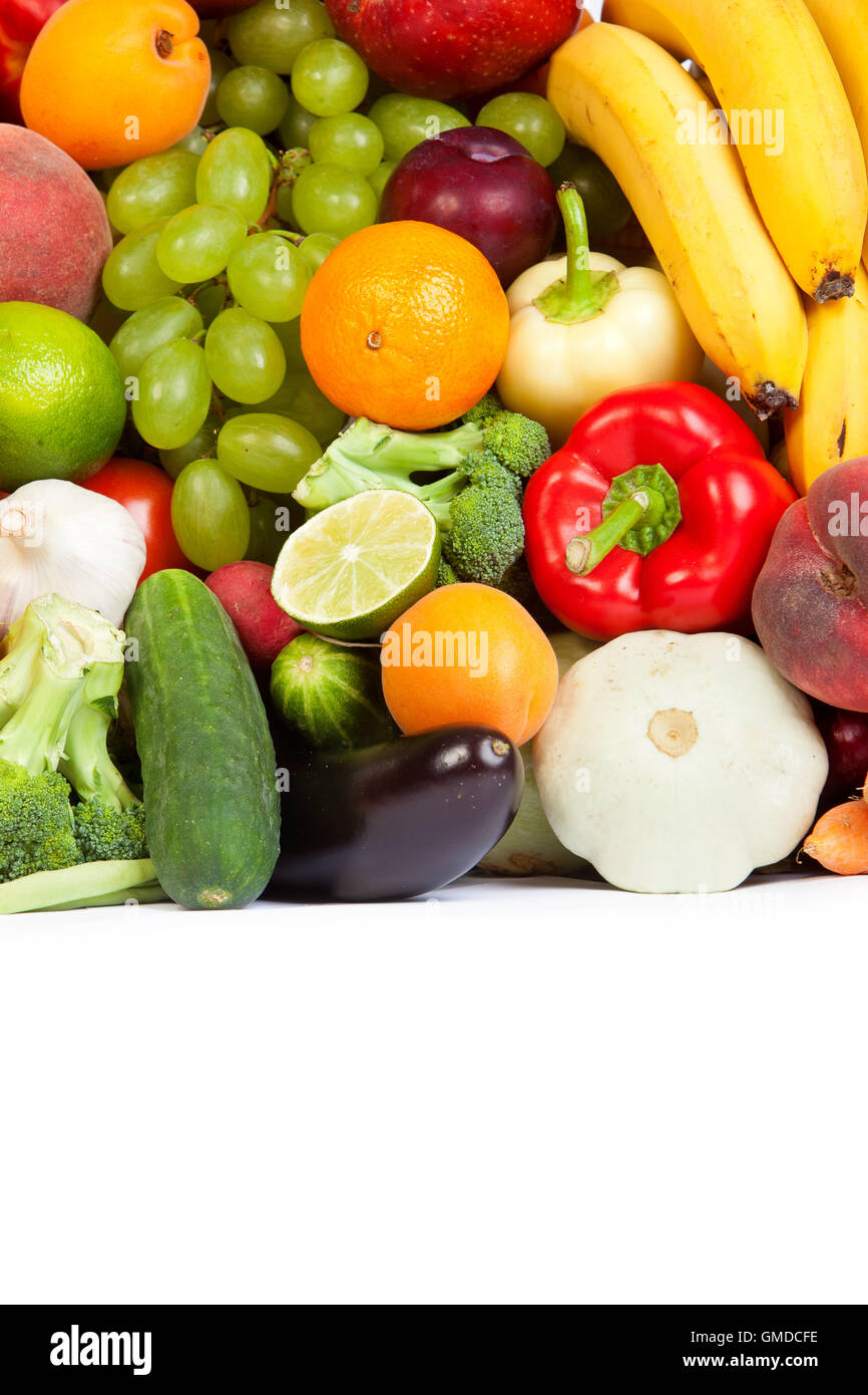 Huge group of fresh vegetables and fruits - Stock Image