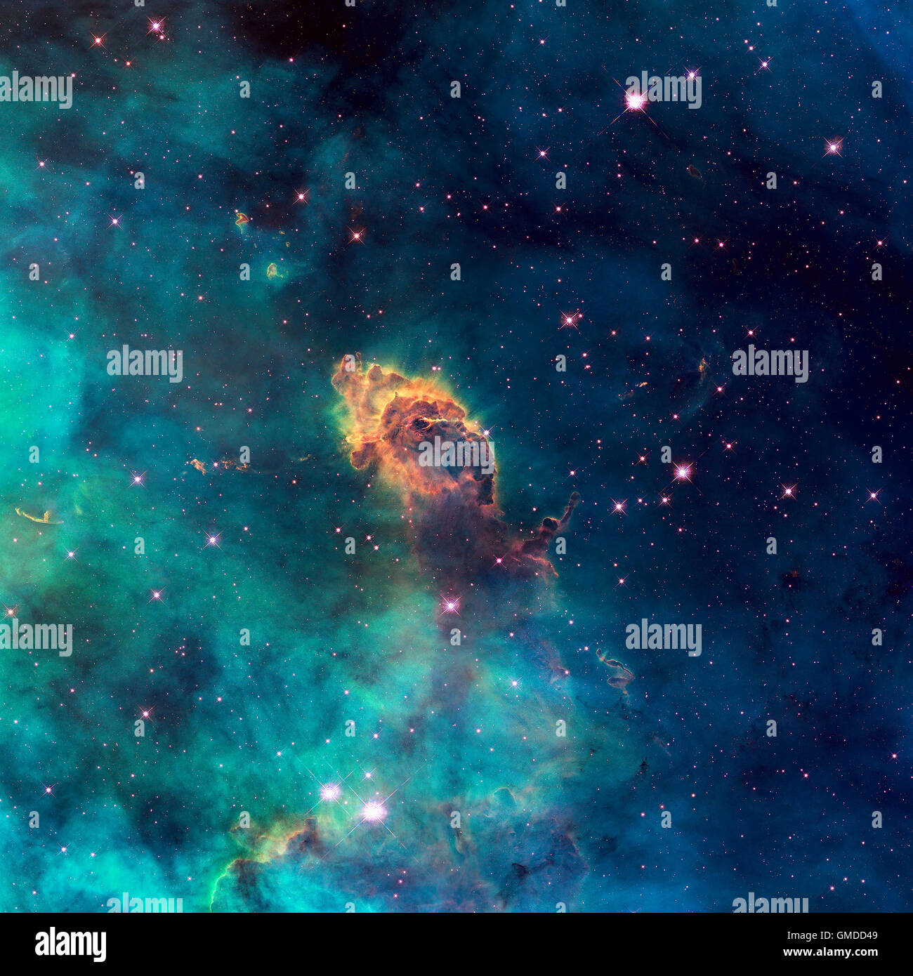 Image of a stellar jet in the Carina Nebula, imaged by Hubble's WFC3 and UVIS detector. Universe filled with - Stock Image
