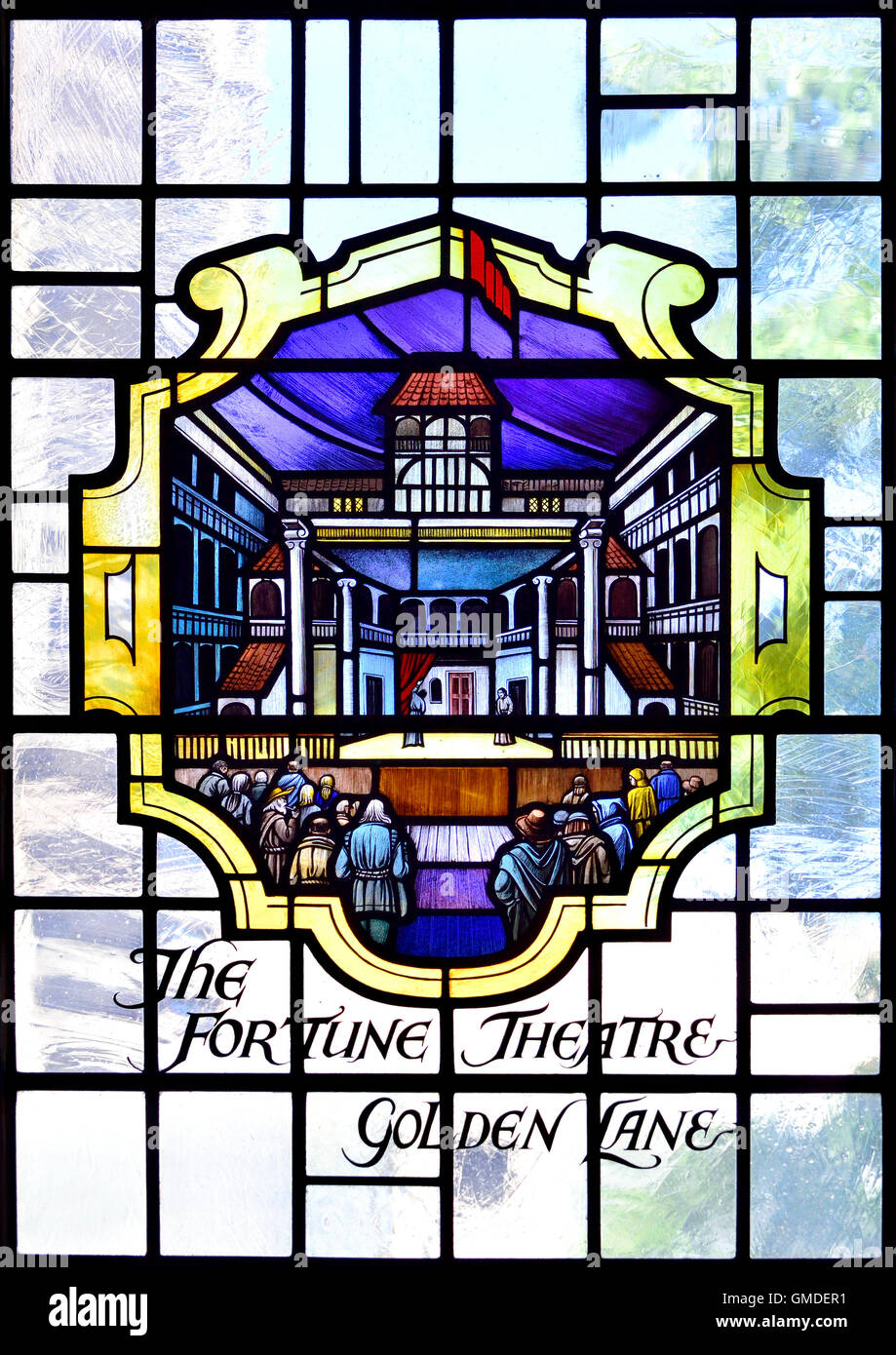 London, England, UK. St Giles' Cripplegate Church, Fore Street (Barbican). Stained glass window: Fortune Theatre - Stock Image