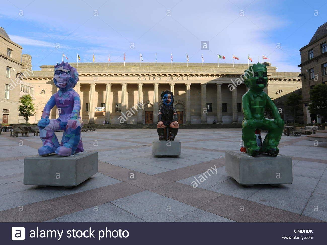 Where's Wullie, Wullie Wallace and Minecraft Oor Wullie statues City Square Dundee Scotland  August 2016 - Stock Image