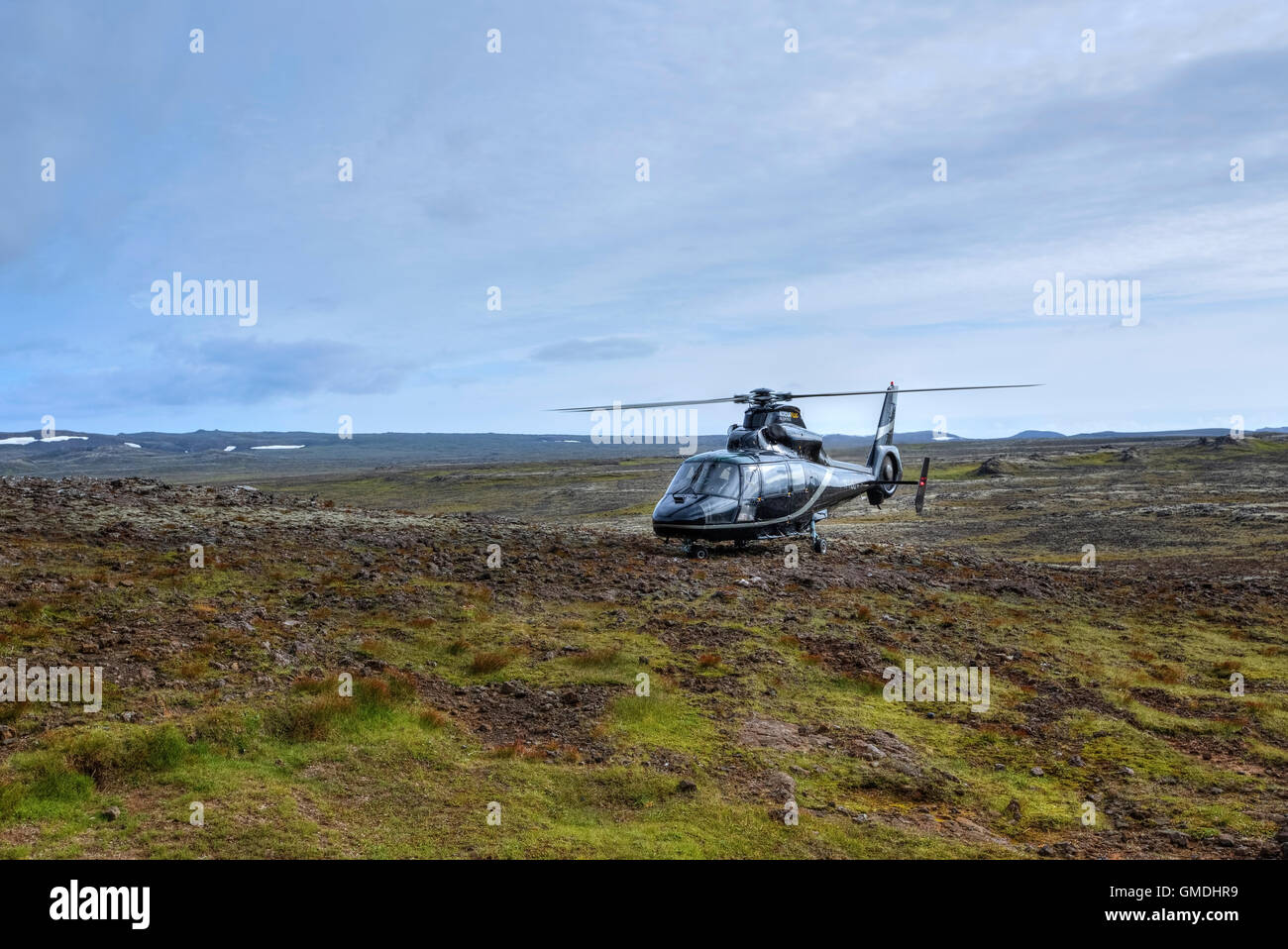 helicopter tour in Strompahraun lava field, Reykjavik, Iceland - Stock Image