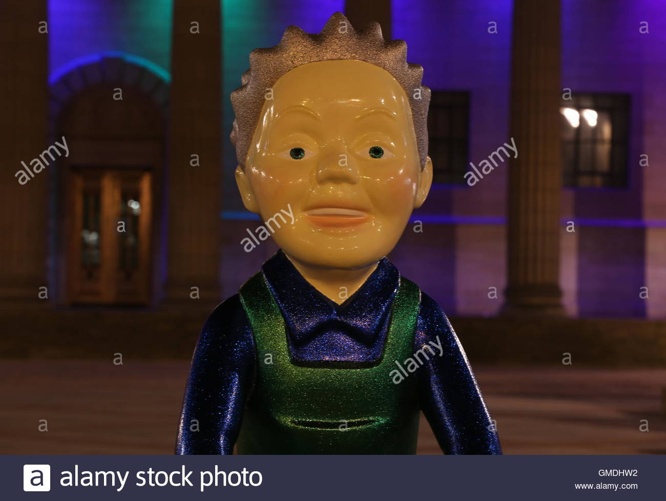 Night on the Toon by John Carr one of Touring Oor Wullie statues back in City Square by night Dundee Scotland  August - Stock Image