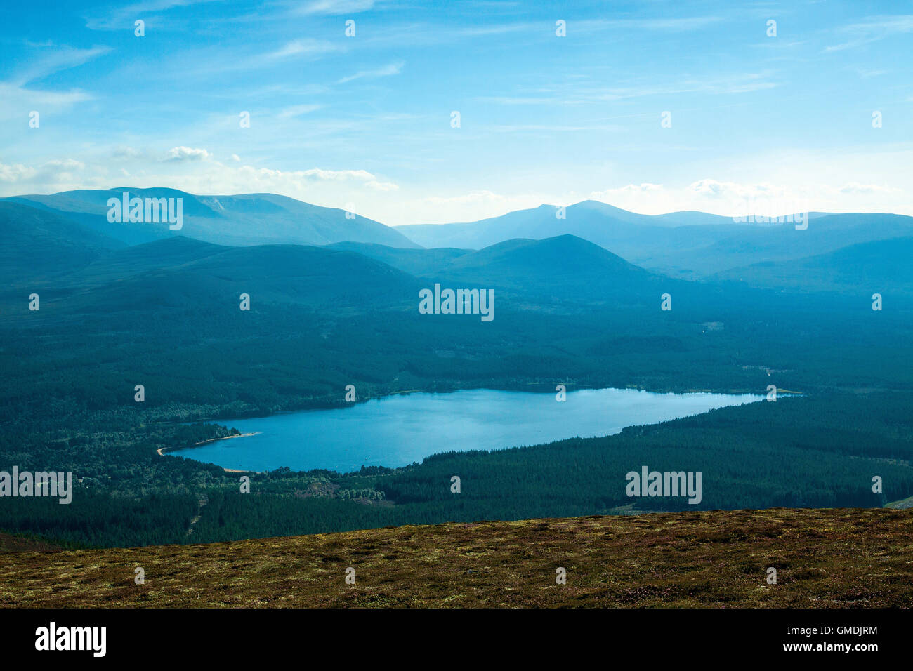 Loch Morlich from Creagan Gorm, Aviemore, Cairngorm National Park, Highland Stock Photo