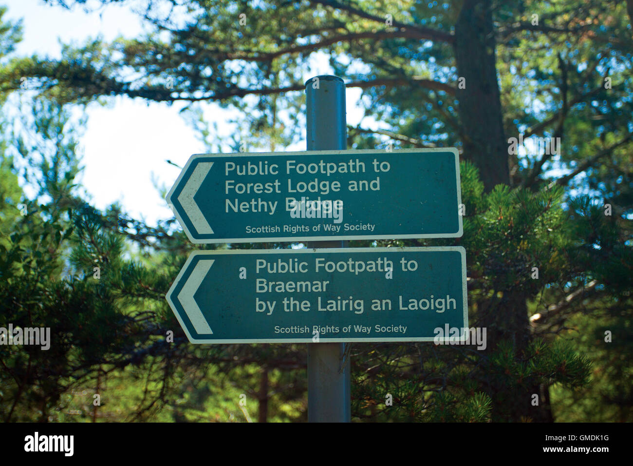 Scottish Rights of Way Forest Lodge to Nethy Bridge Sign, Glen More, Aviemore, Cairngorm National Park, Highland - Stock Image