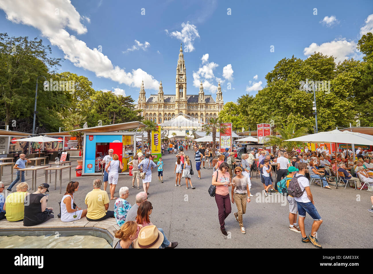 People at the 26th Vienna Film Festival at Rathausplatz. - Stock Image