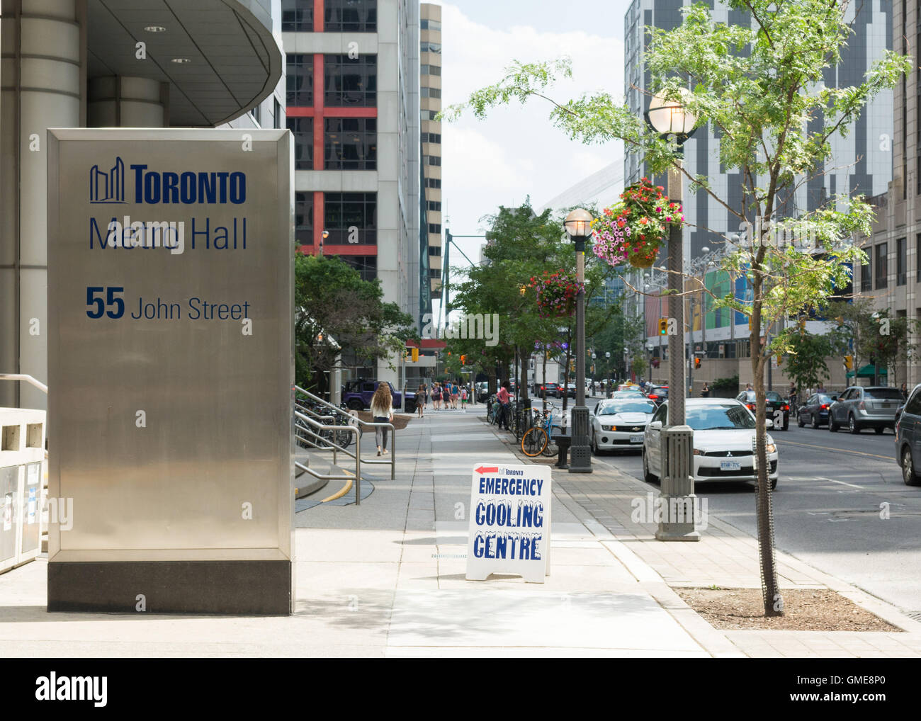 Emergency cooling centre sign outside Toronto Metro Hall, Toronto - Stock Image