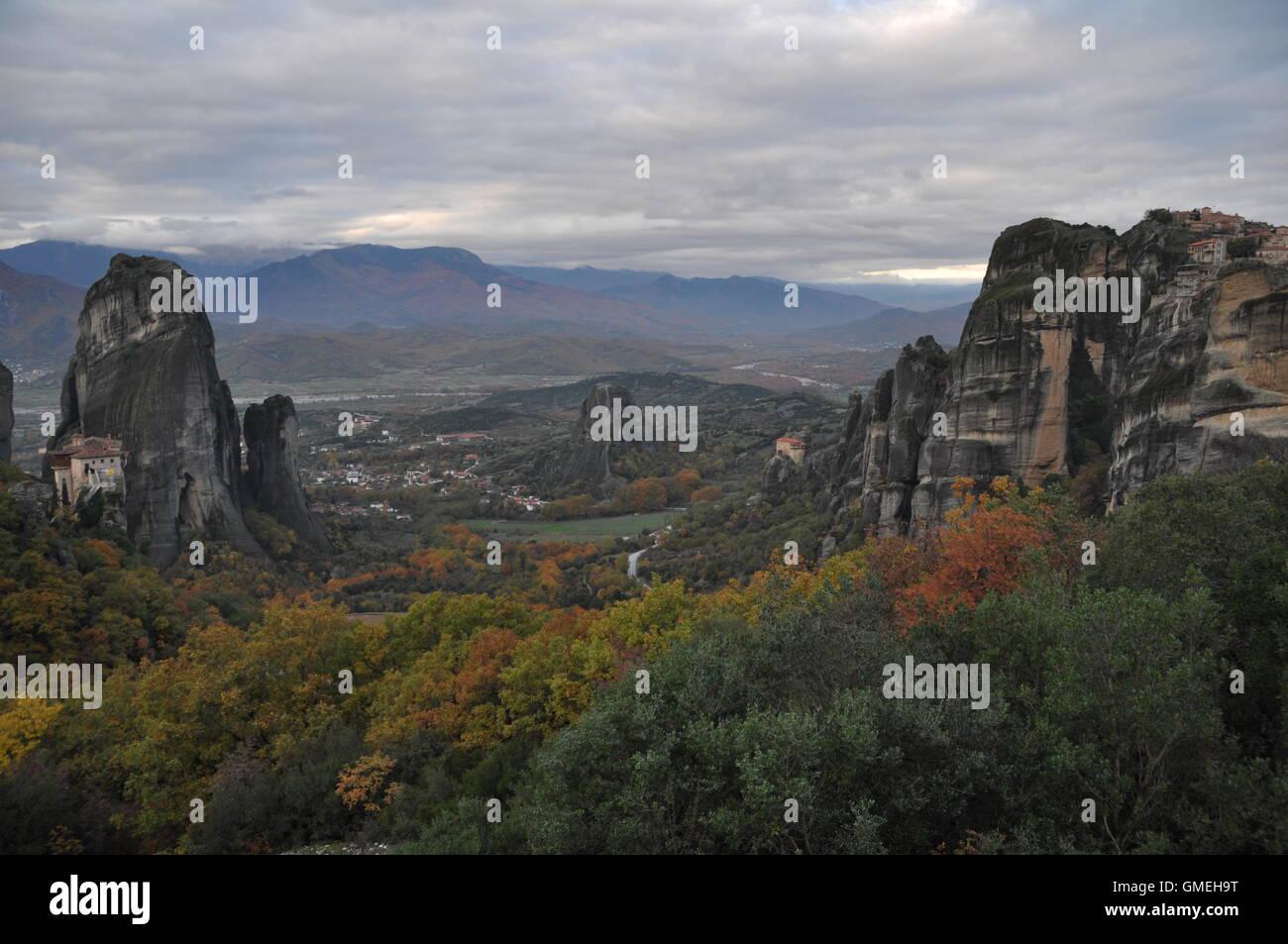 Meteora Rocks and Monasteries, Greece - Stock Image