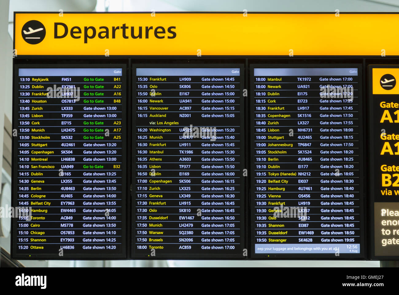 Flight departures information notice board sign at ...