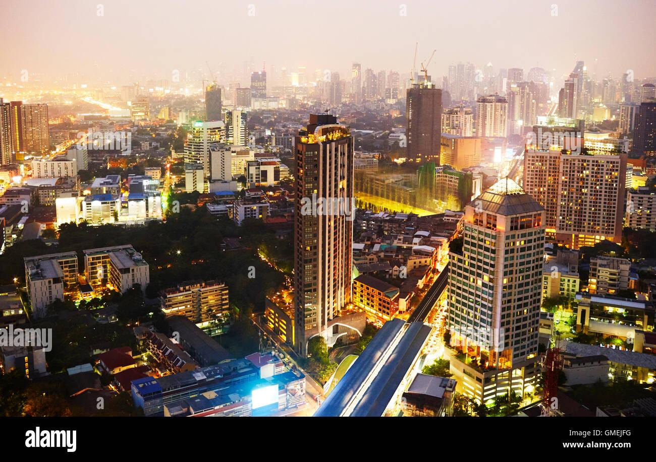 Night time city shot of Bangkok, Thailand. - Stock Image