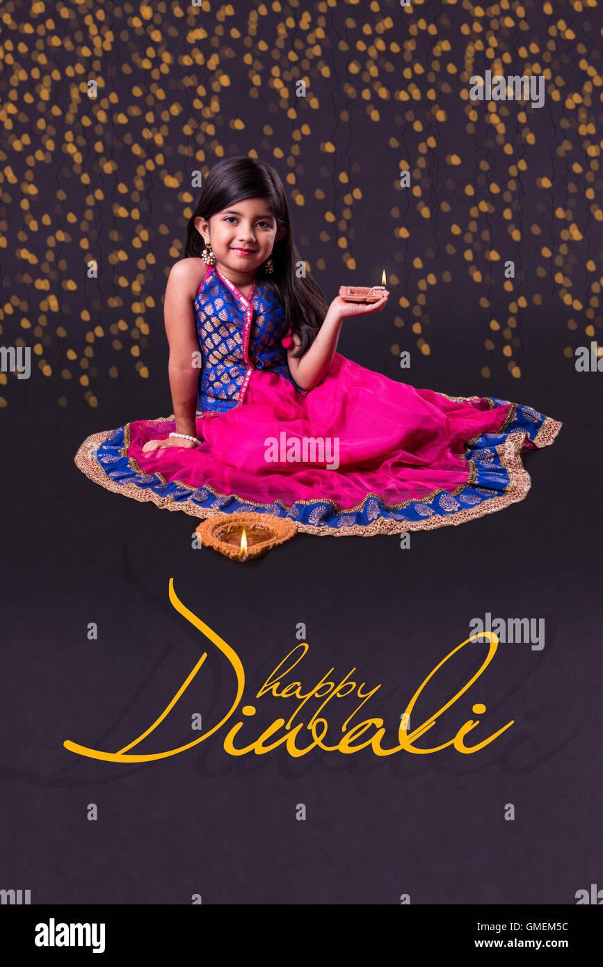 Ihappy Diwali Greeting Card Ndian Girl Holding Diya On Diwali Or