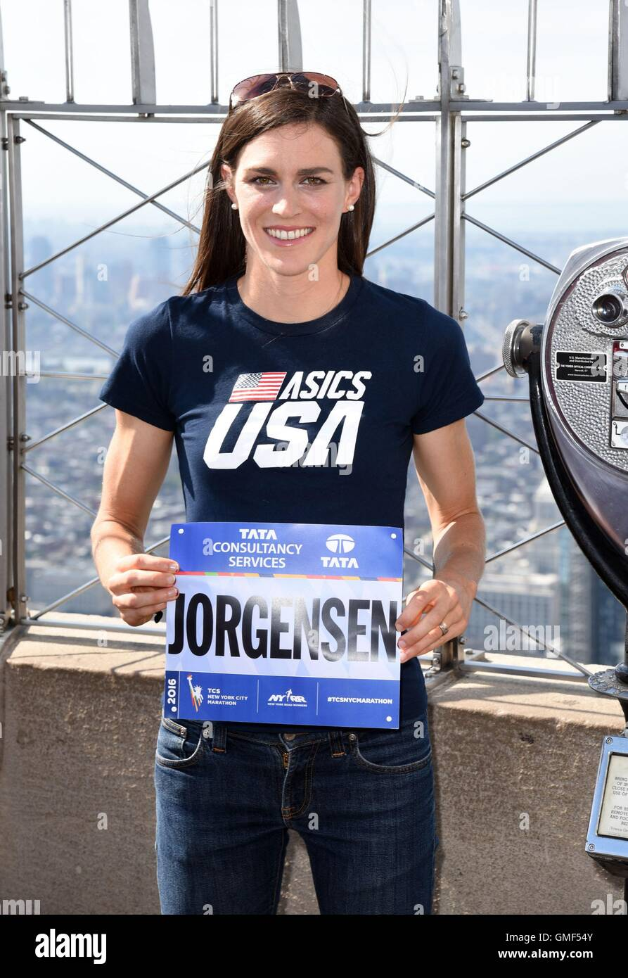 New York, NY, USA. 25th Aug, 2016. Gwen Jorgensen at a public appearance for Olympic Triathlon Gwen Jorgensen Visits - Stock Image