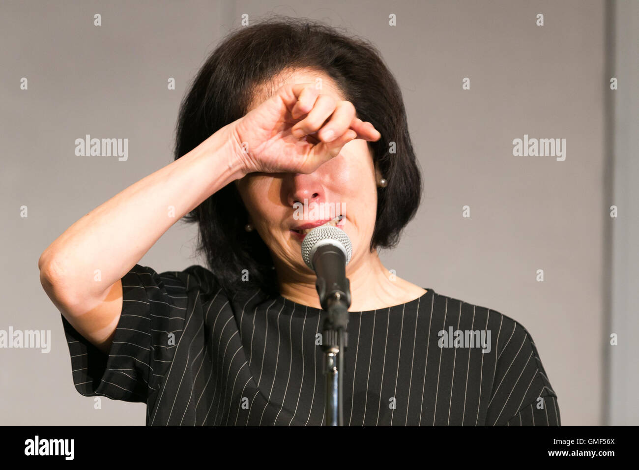 Actress Atsuko Takahata Mother Of Actor Yuta Cries During A Press Conference On August 26 2016 Tokyo 61 Year Old Single