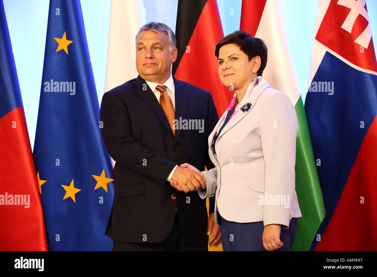 Warsaw, Poland. 26th August, 2016. Polish Prime Minister Beata Szydlo held official meeting with the German Chancellor - Stock Image
