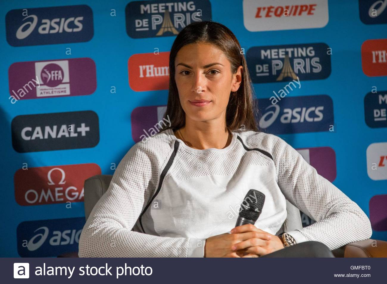 Paris, France. 26th Aug, 2016. Serbian long jumper Ivana Spanovic takes part in a press conference ahead of the - Stock Image