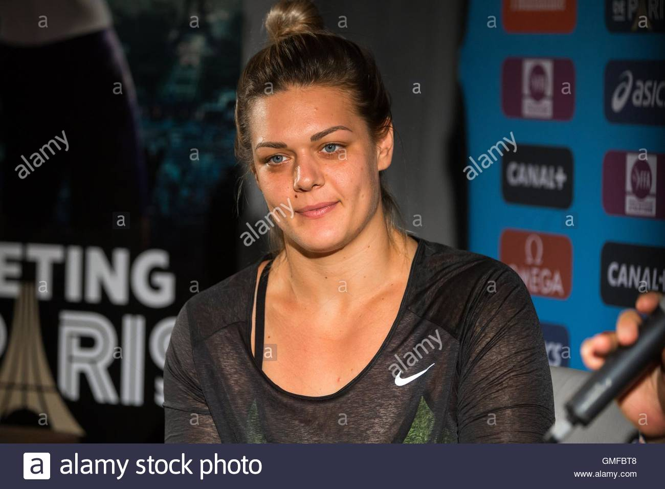 Paris, France. 26th Aug, 2016. Croatian discus thrower Sandra Perkovic takes part in a press conference ahead of - Stock Image