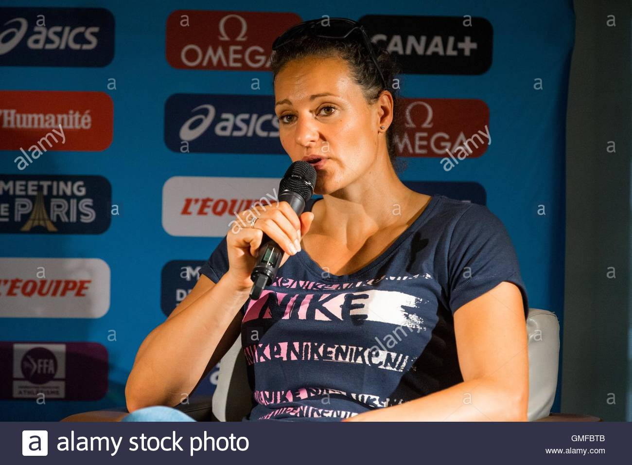 Paris, France. 26th Aug, 2016. French discus thrower Mélina Robert-Michon takes part in a press conference - Stock Image
