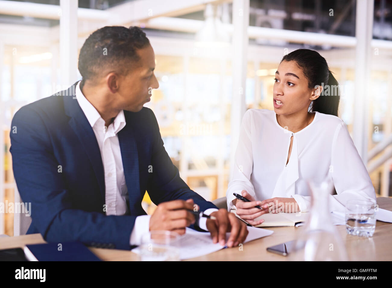 entrepreneurial woman making a business proposal to wealthy male investor - Stock Image