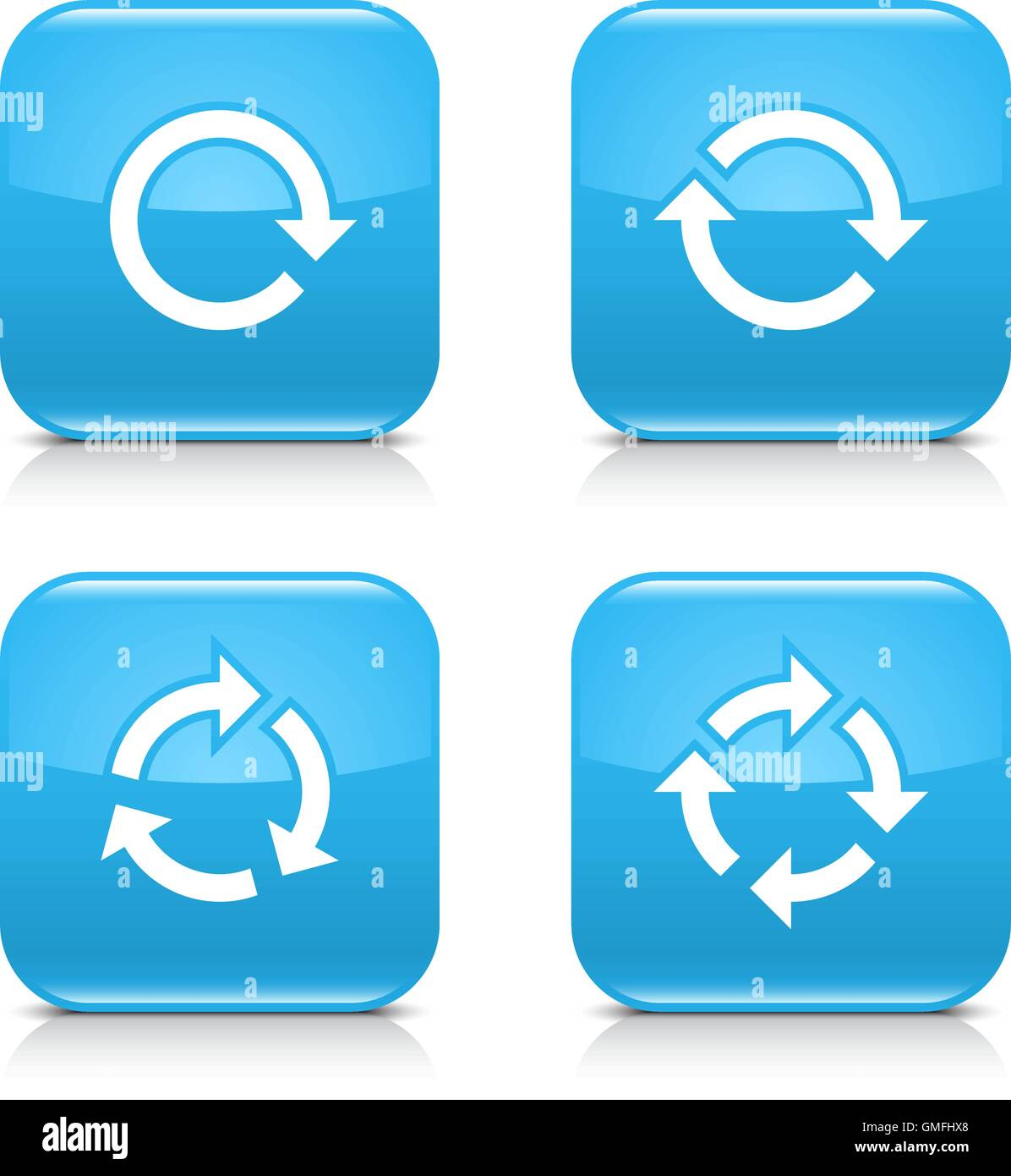 4 arrow icon. White repeat, reload, refresh, rotation sign. Set 02. Blue rounded square button with gray reflection - Stock Image
