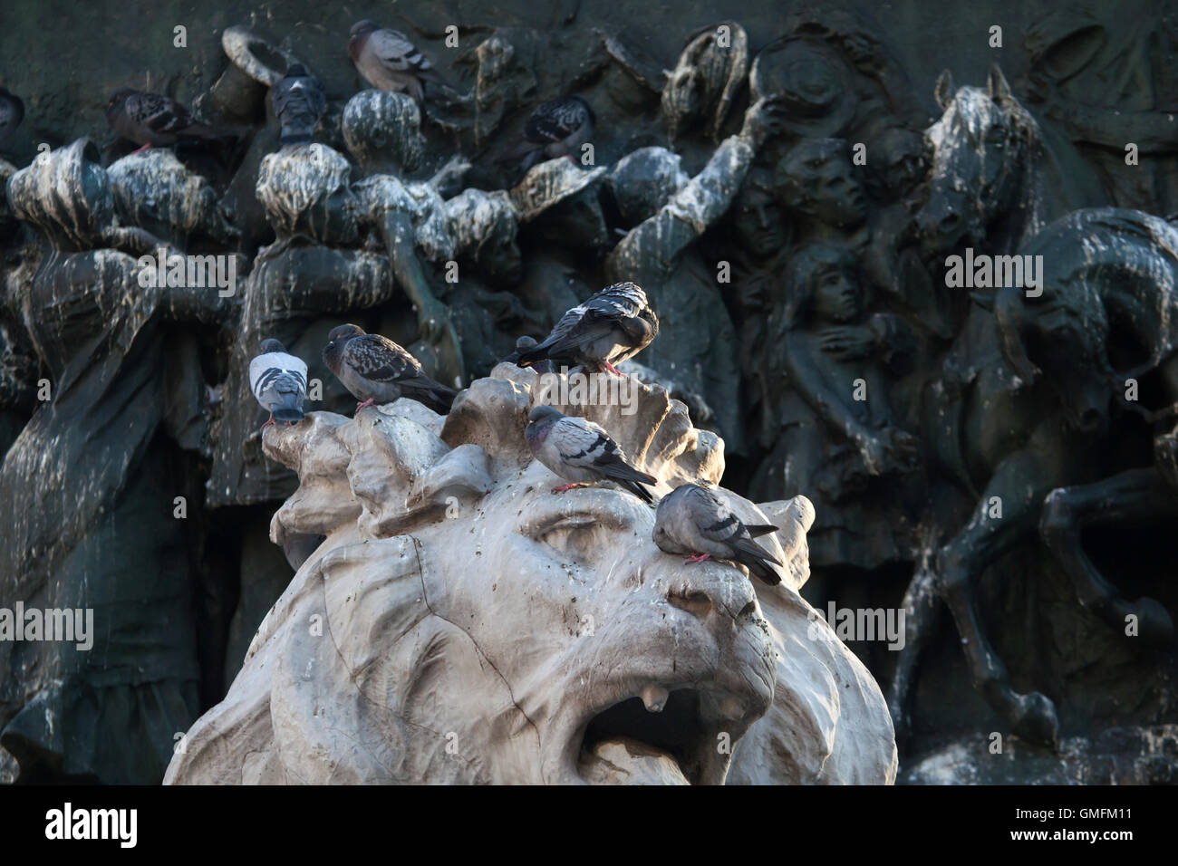 Pigeons flocking the lion head on the basement of the Monument to King Victor Emmanuel II of Italy designed by Italian - Stock Image