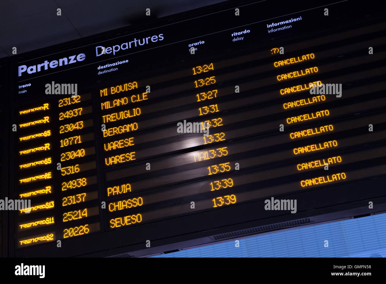 Timetable shows cancelled trains at the Milano Porta Garibaldi railway station in Milan, Lombardy, Italy, during - Stock Image