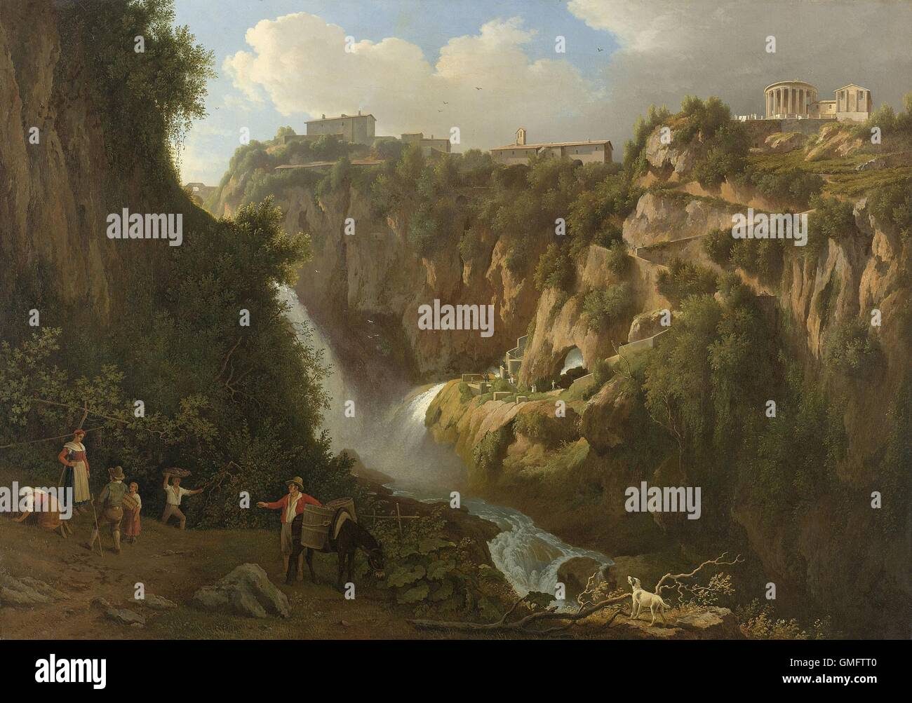 The Waterfall at Tivoli, by Abraham Teerlink, 1824, Dutch painting, oil on canvas. Town of Tivoli line the top of - Stock Image