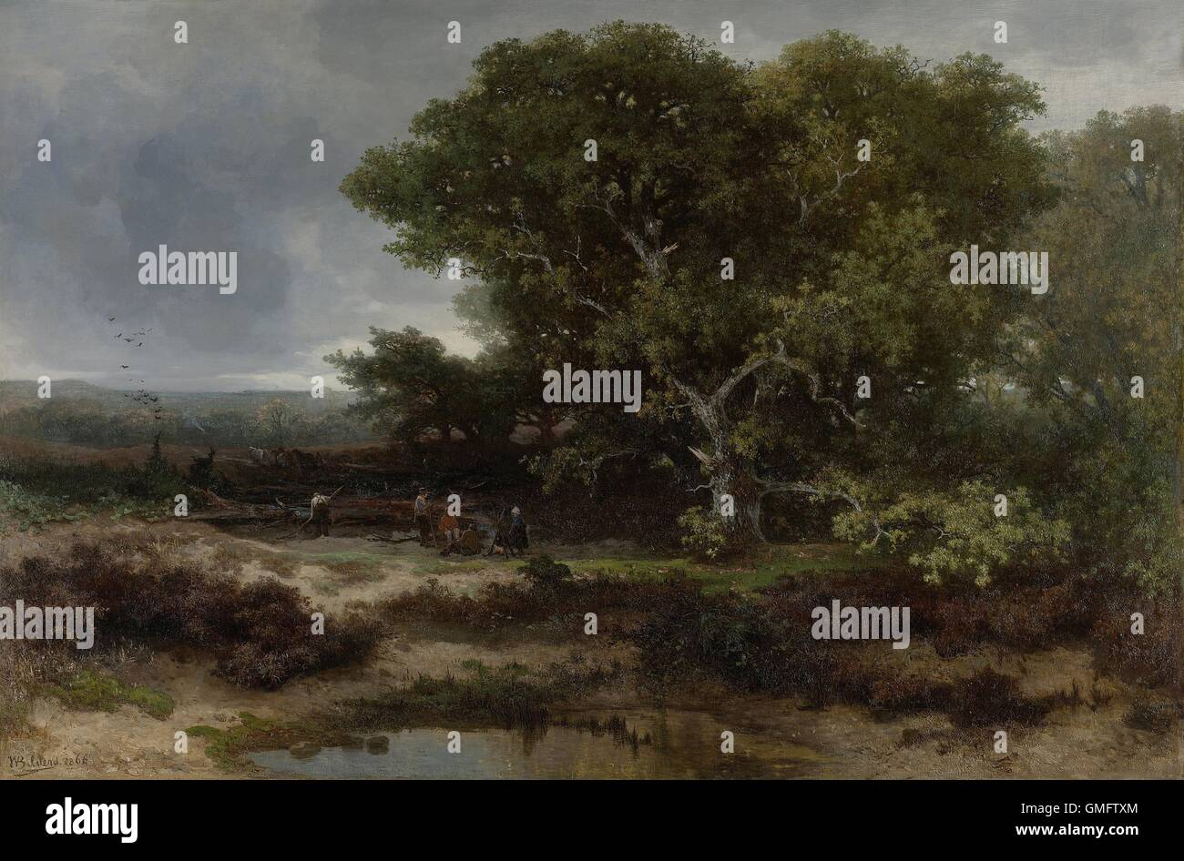 The Heath near Wolfheze, by Johannes Warnardus Bilders, 1866 Dutch painting, oil on canvas. Peasants gather around Stock Photo