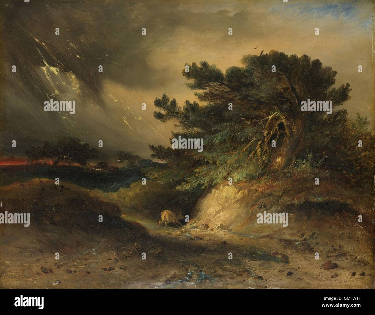 The Thunderstorm, by Johannes Tavenraat, 1843, Dutch painting, oil on panel. Dramatic storm scene incorporating Stock Photo