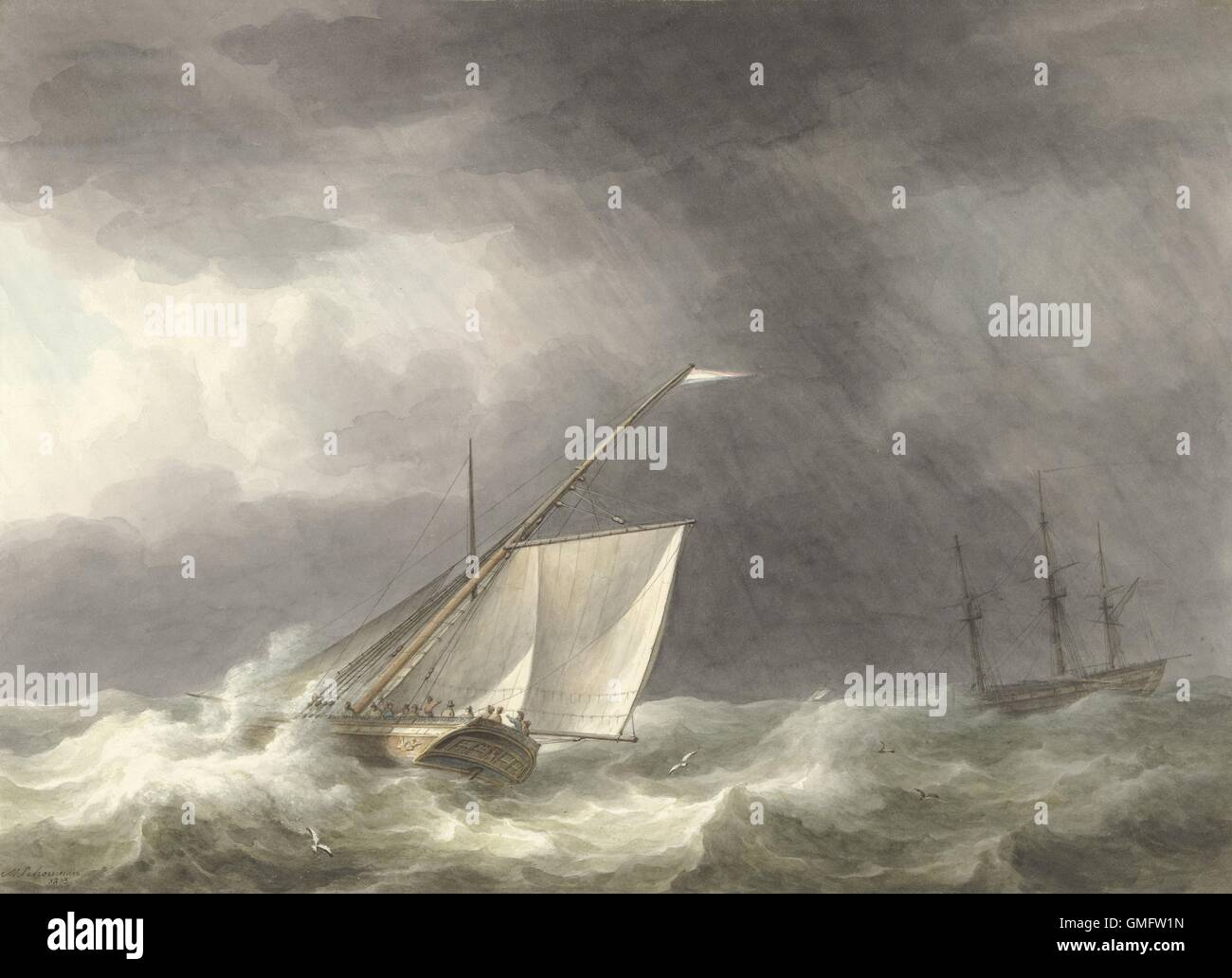 Two Sailing Ships in Rough Seas, by Martinus Schouman, 1803, Dutch watercolor painting. (BSLOC 2016 1 206) Stock Photo