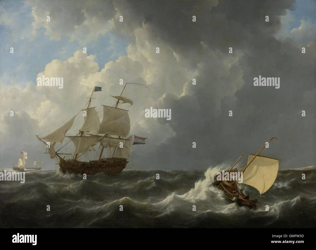 Ships in a Turbulent Sea, by Johannes Christiaan Schotel, 1826, Dutch painting, oil on canvas. Four ships in rough - Stock Image
