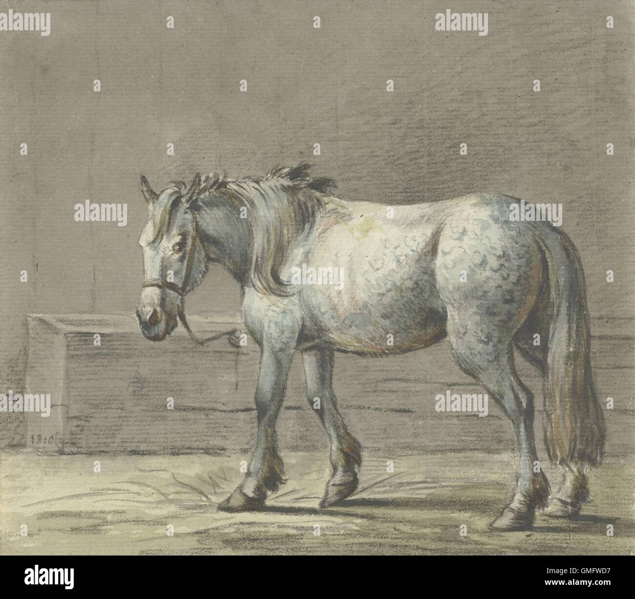 Standing Horse in a Stall, Facing Left, by Jean Bernard, 1810-16, Dutch watercolor painting. (BSLOC_2016_1_278) - Stock Image