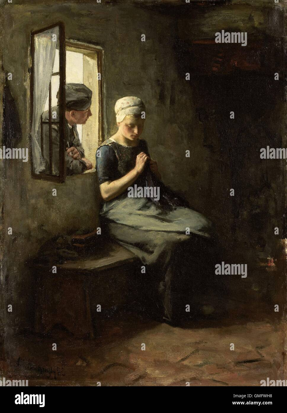 Fisherman's Courtship, by Albert Neuhuys, 1880. Dutch painting, oil on canvas. A young man leaning in a window - Stock Image