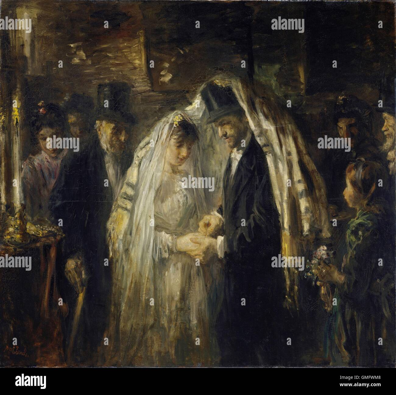 Jewish Wedding, by Jozef Israels, 1903, Dutch painting, oil on canvas. The bride and groom are under the prayer Stock Photo