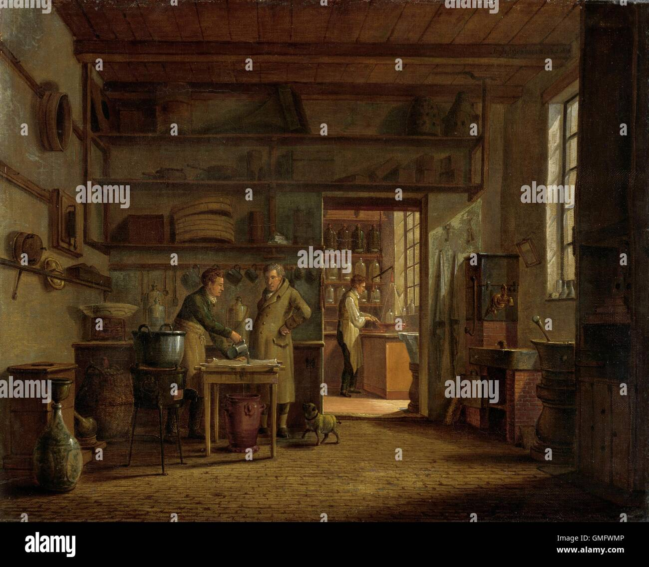 Interior of the Laboratory of the Apothecary, by Johannes Jelgerhuis, 1818, Dutch painting, oil on canvas. An man Stock Photo