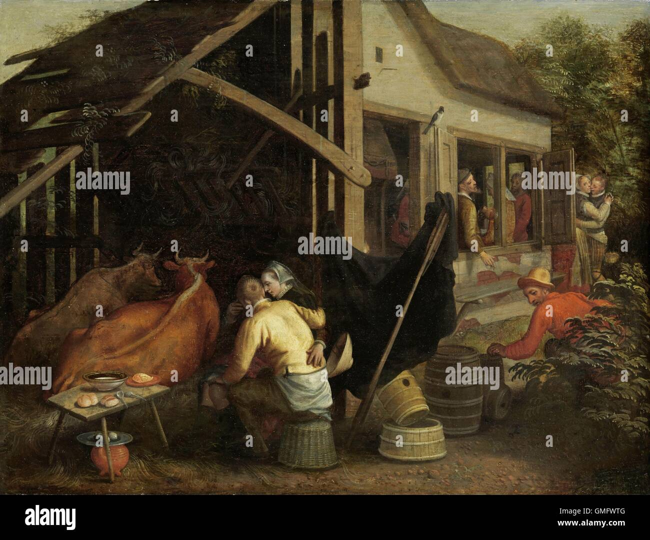 Couples Making Love At A Country Inn By Aert Pietersz C 1570 90 Dutch Painting Oil On Panel The Couple Foreground Embrace