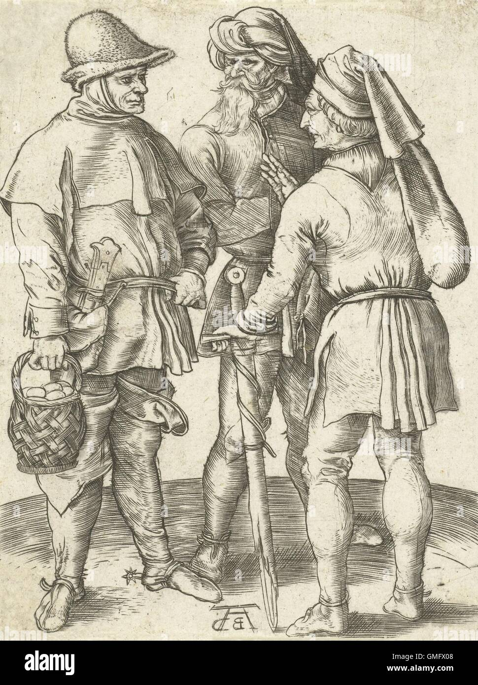 Three Farmers in Conversation, by Albrecht Durer, German print, engraving. 1567 copy of the Durer original by Abraham - Stock Image