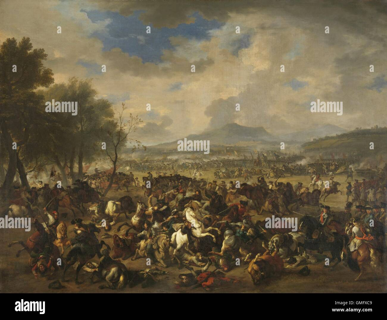 Battle at Ramillies between the French and the Allied Powers, by Jan van Huchtenburg, 1706-10, Dutch painting, oil - Stock Image
