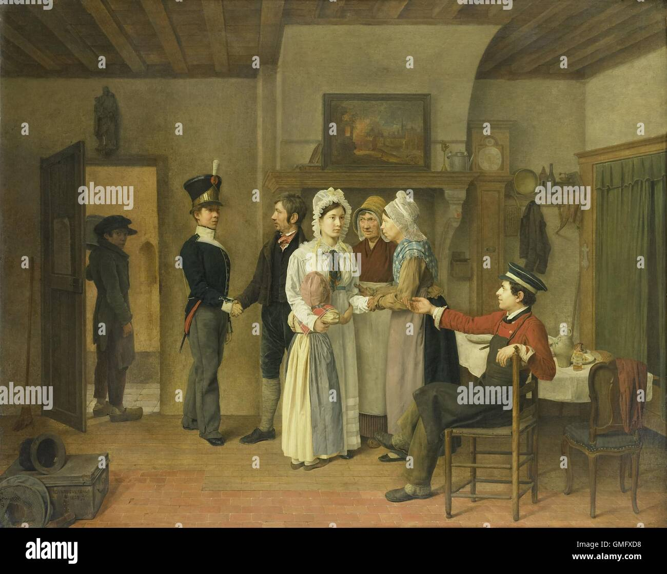 The Soldier's Farewell, by Charles van Beveren, 1828, Dutch painting