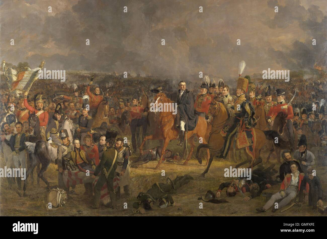 The Battle of Waterloo, by Jan Willem Pieneman, 1824, Dutch painting, oil on canvas. Duke of Wellington receiving - Stock Image