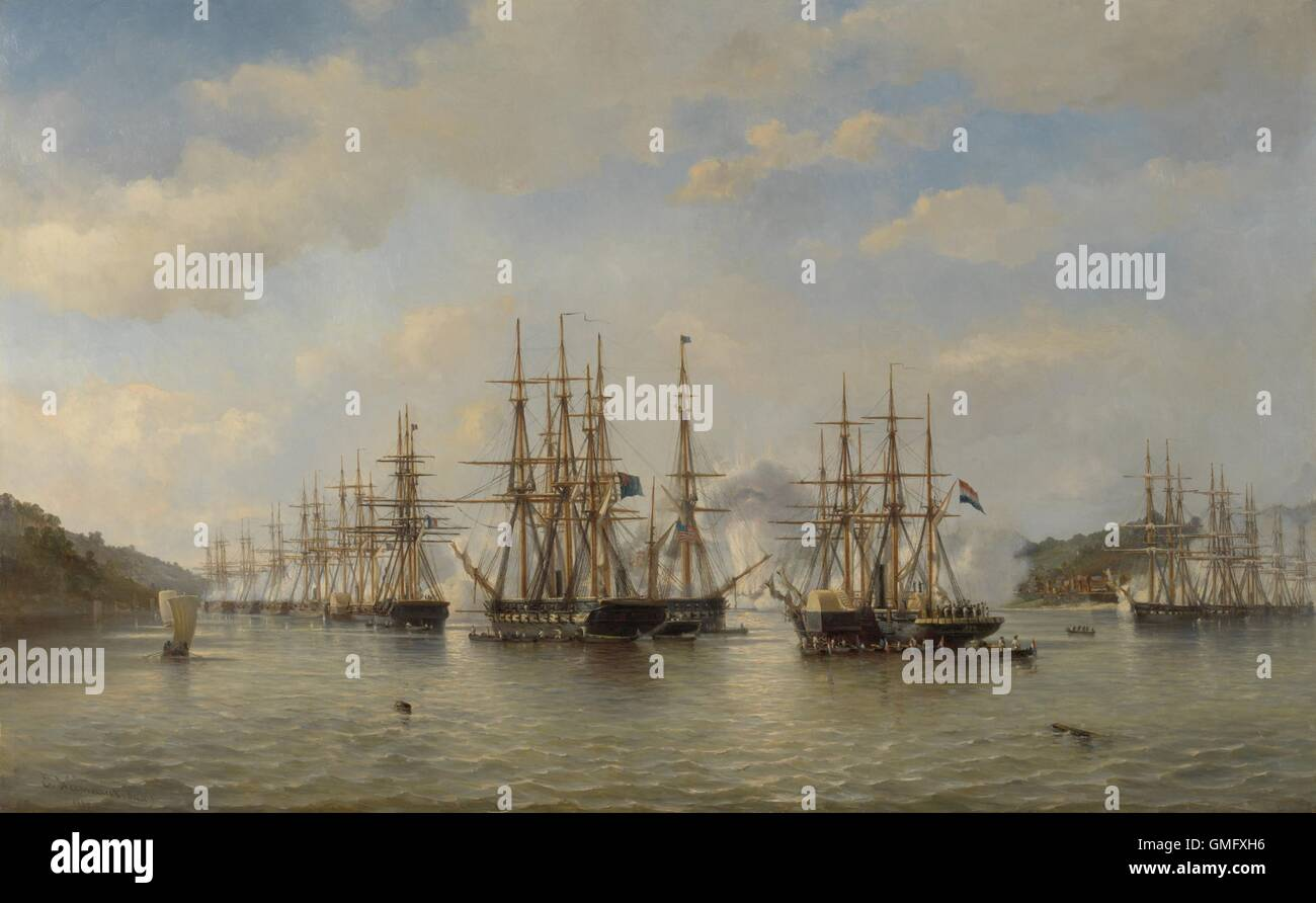 Dutch, English, French and American Squadrons in Japanese Waters during the Expedition, Sept. 1864, by Jacob van - Stock Image