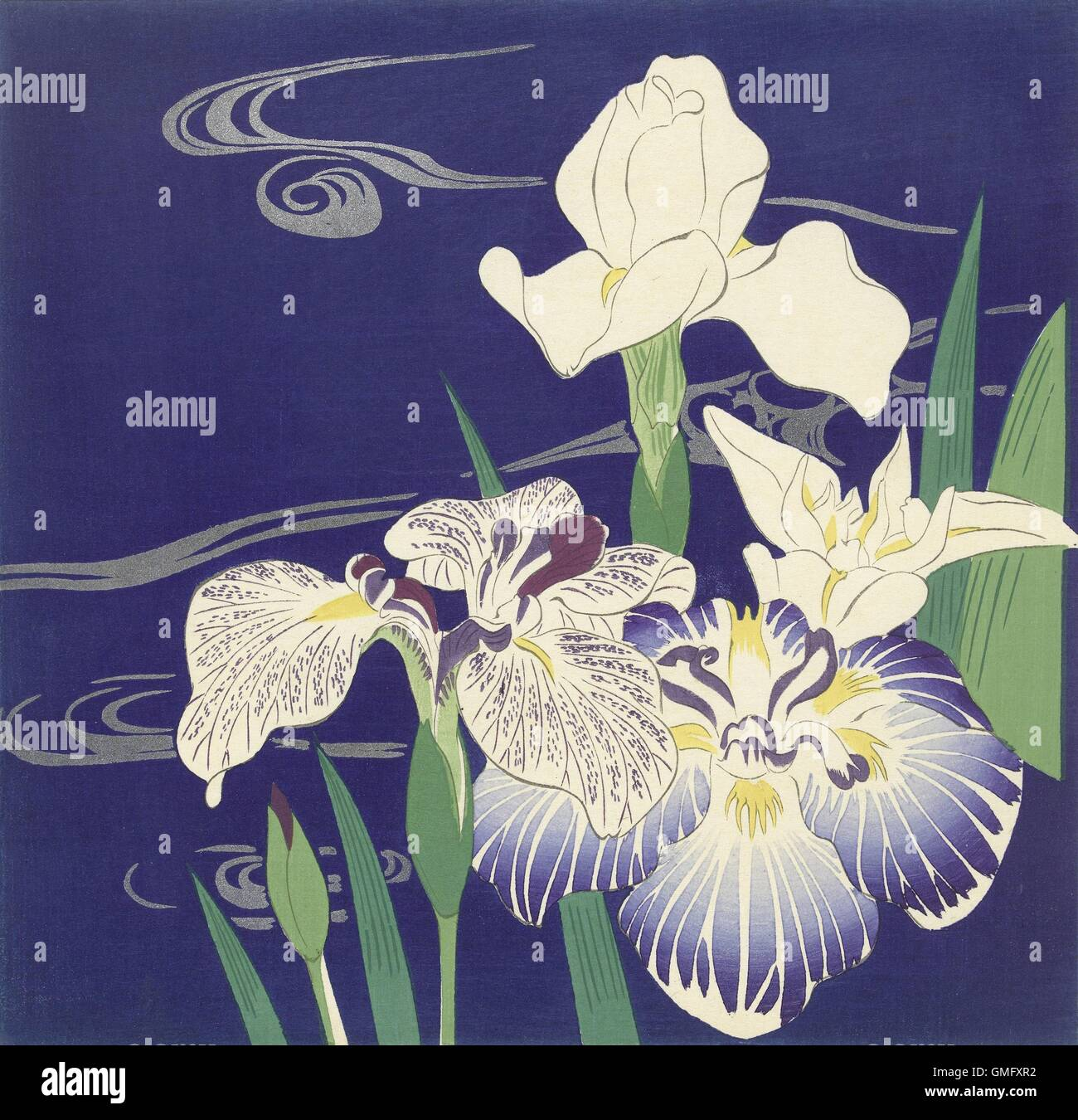 Irises By Tsukioka Kogyo C 1890 1900 Japanese Print Color Woodcut Blooming Against A Deep Blue Background Depicting Water BSLOC 2016 2 283